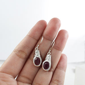 Hammered dangle earring with oval ruby set in 925 sterling silver, beautiful earring for women - SUVARNASILVERCO.,LTD
