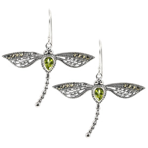 Dragonfly Earring Bali Filigree Design with Genuine Gems Stone and Marcasite