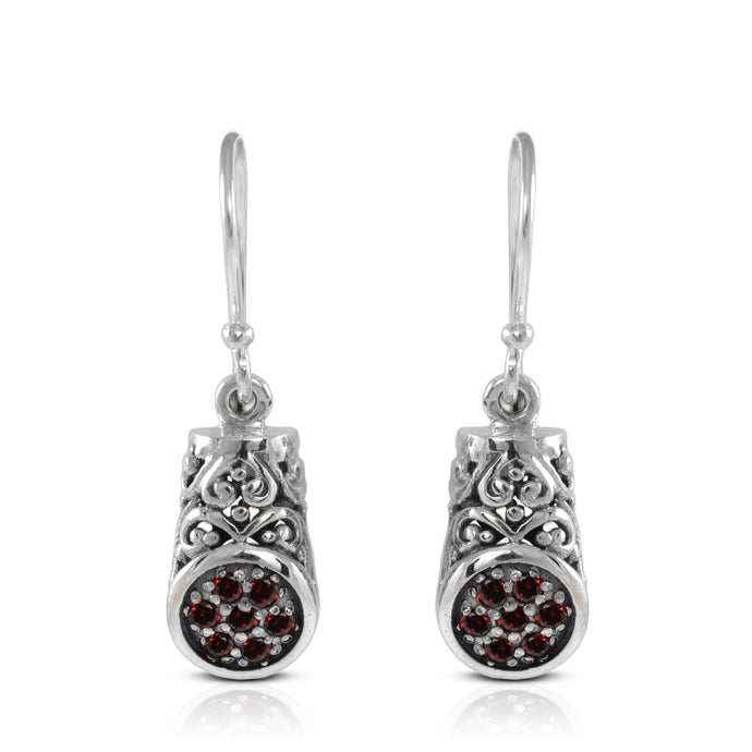 Dangle earring with red cubic zirconia set in 925 sterling silver - SUVARNASILVERCO.,LTD