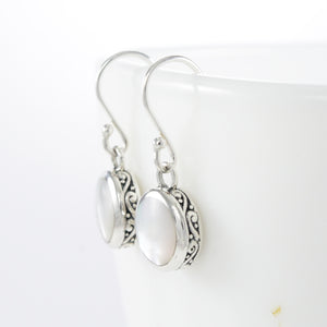 Filigree round dangle hook earrings with natural white shell set in 925 sterling silver, beautiful earring for woman - SUVARNASILVERCO.,LTD