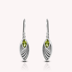 Leaf design with genuine peridot hook earrings set in 925 sterling silver, beautiful earring for women - SUVARNASILVERCO.,LTD