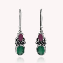 Load image into Gallery viewer, Bali inspired filigree with genuine peridot and ruby dangle earrings set in 925 sterling silver, beautiful earring for woman - SUVARNASILVERCO.,LTD