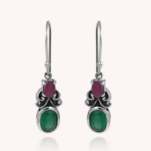 Bali inspired filigree with genuine peridot and ruby dangle earrings set in 925 sterling silver, beautiful earring for woman - SUVARNASILVERCO.,LTD