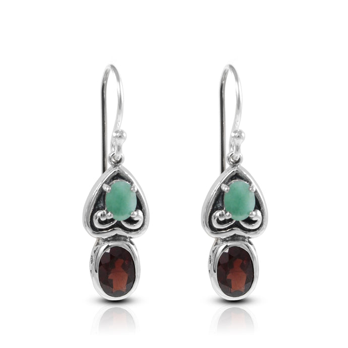 filigree heart love dangle earring with genural emerald and garnet set in 925 sterling silver - SUVARNASILVERCO.,LTD