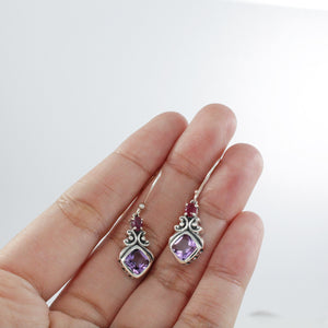 Bali inspired filigree with genuine gemstone dangle earrings set in 925 sterling silver, beautiful earring for woman - SUVARNASILVERCO.,LTD