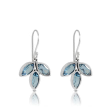 Load image into Gallery viewer, Leaf dangle earrings with genuine blue topaz set in 925 sterling silver , beautiful earrings for women - SUVARNASILVERCO.,LTD