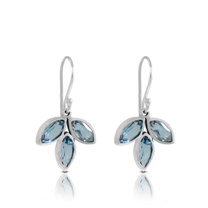 Leaf dangle earrings with genuine blue topaz set in 925 sterling silver , beautiful earrings for women - SUVARNASILVERCO.,LTD