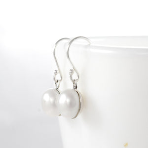 Round white freshwater pearl earring set in 925 sterling silver, beautiful dangle earring for women - SUVARNASILVERCO.,LTD
