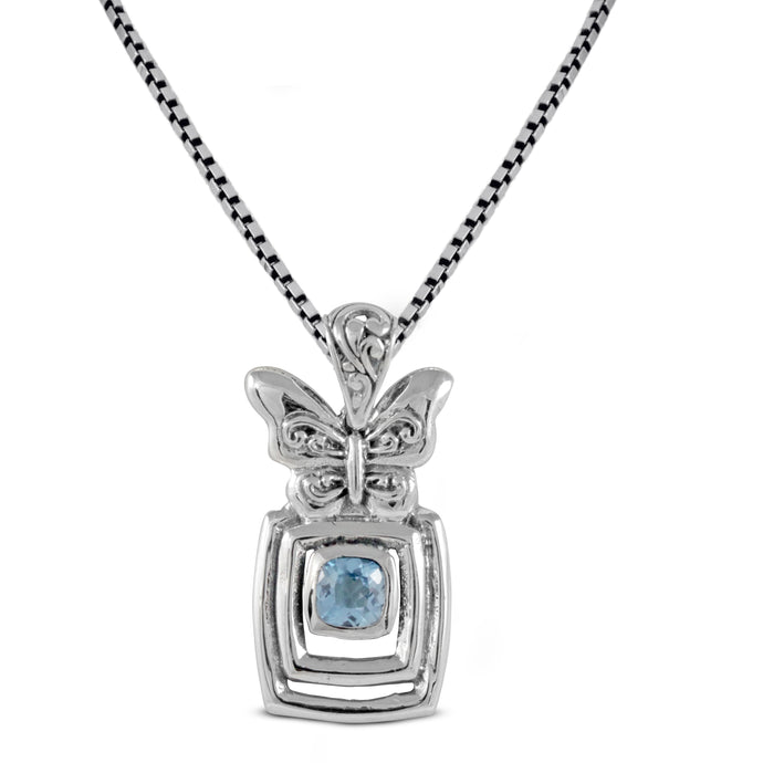 Butterfly pendant with genuine blue topaz set in 925 sterling silver, beautiful pendant for women - SUVARNASILVERCO.,LTD