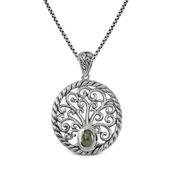 Tree of life pendant with genuine tourmaline set in 925 sterling silver pendant, beautiful pendant for women - SUVARNASILVERCO.,LTD