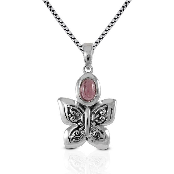 Butterfly pendant with genuine tourmaline set in 925 sterling silver, beautiful pendant for women - SUVARNASILVERCO.,LTD