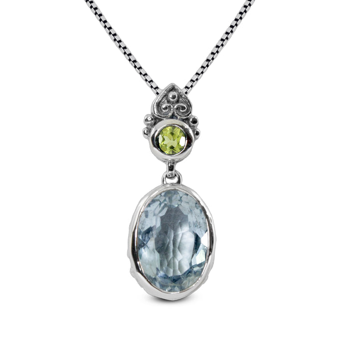 Genuine blue topaz with genuine peridot pendant set in 925 Sterling silver pendant - SUVARNASILVERCO.,LTD
