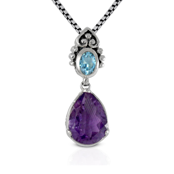 925 sterling silver pendant with genuine amethyst and blue topaz, beautiful pendant for women - SUVARNASILVERCO.,LTD