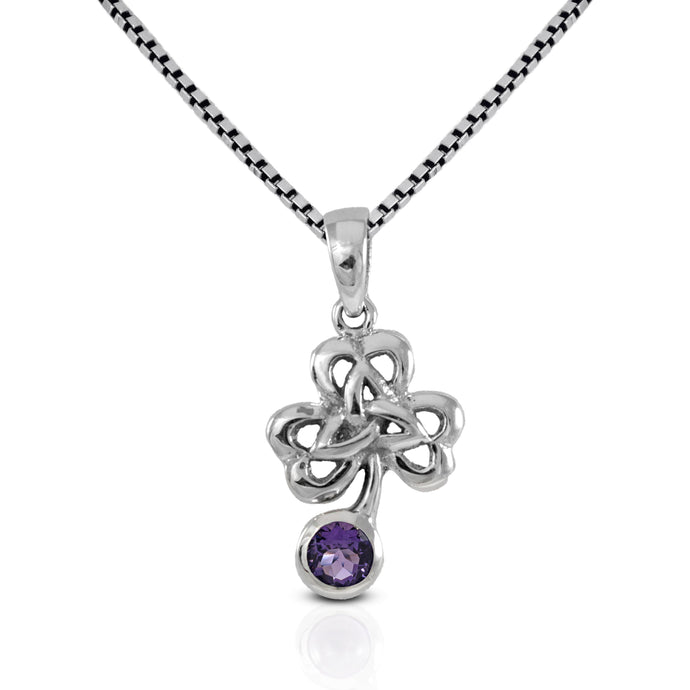 Shamrock leaf pendant with genuine amethyst set in 925 sterling silver ,beautiful pendant for women - SUVARNASILVERCO.,LTD
