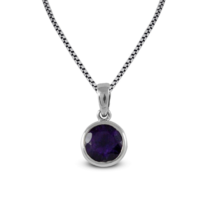 simple design pendant with genuine amethyst set in 925 Sterling silver pendant, beautiful pendant for woman - SUVARNASILVERCO.,LTD