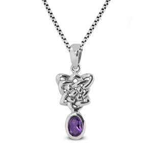 Celtic Knot Pendant with genuine amethyst set in 925 Sterling silver pendant, beautiful pendant for woman - SUVARNASILVERCO.,LTD