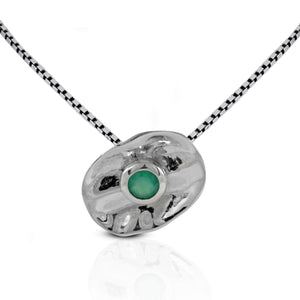 Premium genuine green agate pendant set in 925 sterling silver ,beautiful pendant for women - SUVARNASILVERCO.,LTD