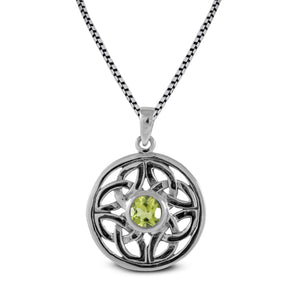 Celtic Knot Pendant  with genuine green quartz set in 925 Sterling silver pendant, beautiful pendant for woman - SUVARNASILVERCO.,LTD