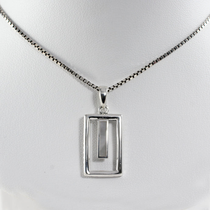 Window Design 925 Sterling Silver Pendant with Mother Pearl of Shell - SUVARNASILVERCO.,LTD