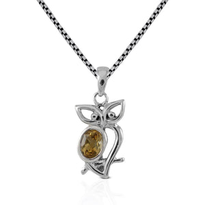 Owl pendant with genuine amethyst set in 925 sterling silver, beautiful pendant for women - SUVARNASILVERCO.,LTD