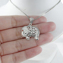 Load image into Gallery viewer, Elephant pendant with pink cubic zirconia set in 925 sterling silver ,beautiful pendant for women - SUVARNASILVERCO.,LTD