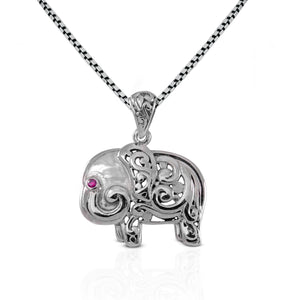 Elephant pendant with pink cubic zirconia set in 925 sterling silver ,beautiful pendant for women - SUVARNASILVERCO.,LTD