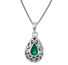 画像をギャラリービューアに読み込む, Filigree design pendant with genuine garnet set in 925 Sterling silver pendant, beautiful pendant for woman - SUVARNASILVERCO.,LTD