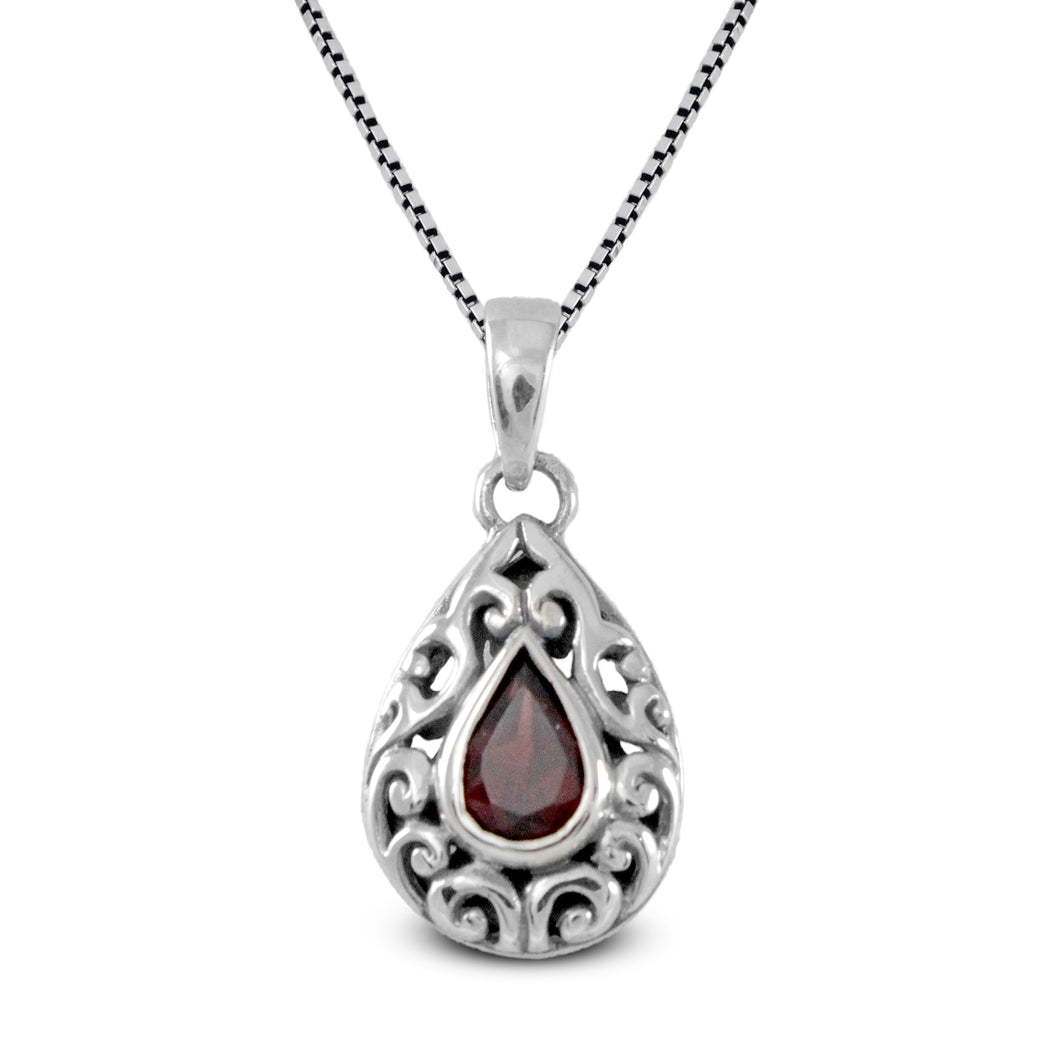 Filigree design pendant with genuine garnet set in 925 Sterling silver pendant, beautiful pendant for woman - SUVARNASILVERCO.,LTD
