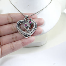 Load image into Gallery viewer, giraffe pendant with pink cubic zirconia set in 925 sterling silver pendant, beautiful pendant for women