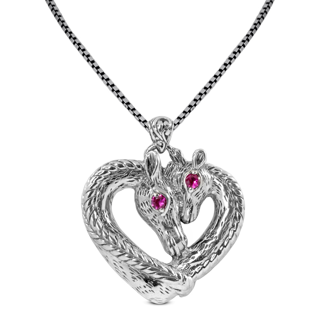 giraffe pendant with pink cubic zirconia set in 925 sterling silver pendant, beautiful pendant for women