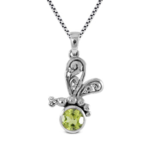 Dragonfly pendant with genuine amethyst set in 925 sterling silver ,beautiful pendant for women - SUVARNASILVERCO.,LTD
