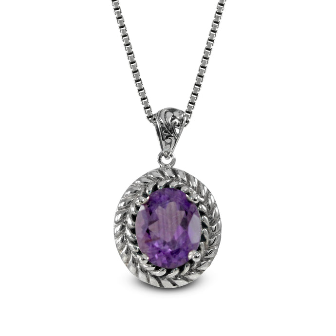 Cable Edge design pendant with genuine amethyst set in 925 Sterling silver pendant, beautiful pendant for woman - SUVARNASILVERCO.,LTD