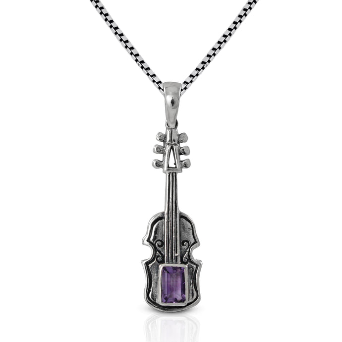 Guitar design with genuine amethyst set in 925 sterling silver pendant, beautiful music pendant for women - SUVARNASILVERCO.,LTD