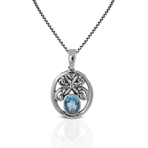 Butterfly Carving Bali Design 925 Sterling Silver Pendant with Genuine Gems Stone - SUVARNASILVERCO.,LTD