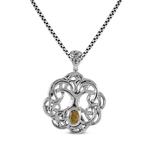 Tree of life pendant with genuine citrine set in 925 sterling silver pendant, beautiful pendant for women