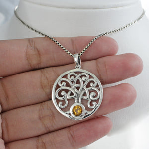Tree of life pendant with genuine peridot set in 925 sterling silver pendant, beautiful pendant for women - SUVARNASILVERCO.,LTD