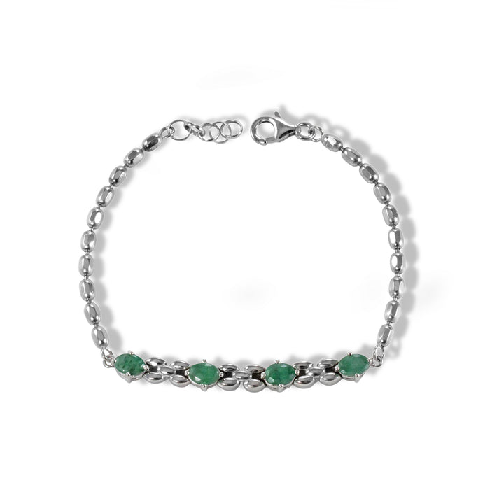 Natural green emerald and black sapphire bracelet set in sterling silver and rhodium finishing, - SUVARNASILVERCO.,LTD