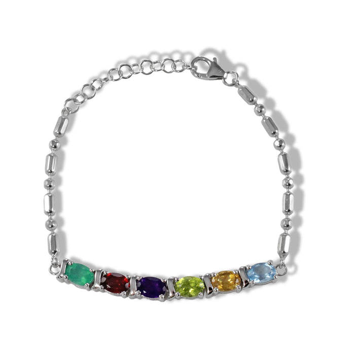 Genuine gems stones set in sterling silver chain bracelet with rhodium finishing, multi color gems bracelet - SUVARNASILVERCO.,LTD