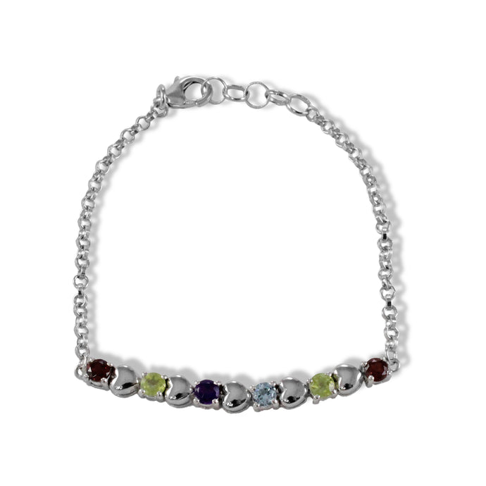 Beautiful multi color gemstone in heart shape sterling silver bracelet with rhodium finishing - SUVARNASILVERCO.,LTD