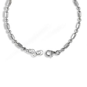 Octagon silver chain bracelet with natural gems stone, silver bracelet with rhodium - SUVARNASILVERCO.,LTD