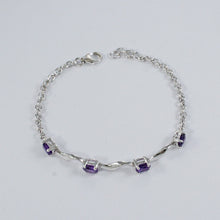 Load image into Gallery viewer, Sea wave silver bracelet with genuine gems stones, silver bracelet with rhodium - SUVARNASILVERCO.,LTD