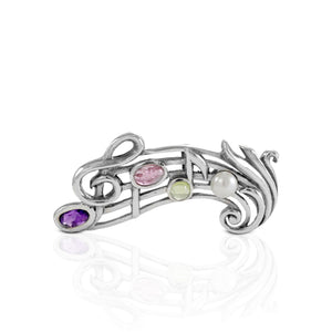 Music Note pendant and brooch with gemstone set in 925 sterling silver - SUVARNASILVERCO.,LTD