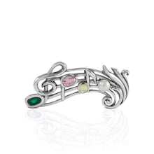 Load image into Gallery viewer, Music Note pendant and brooch with gemstone set in 925 sterling silver - SUVARNASILVERCO.,LTD