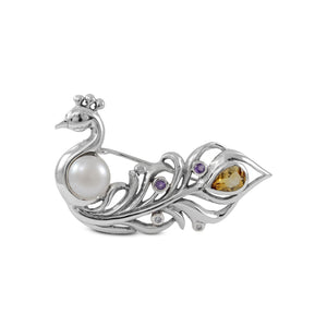 Birds brooch pins with genuine amethyst and citrine set in 925 sterling silver