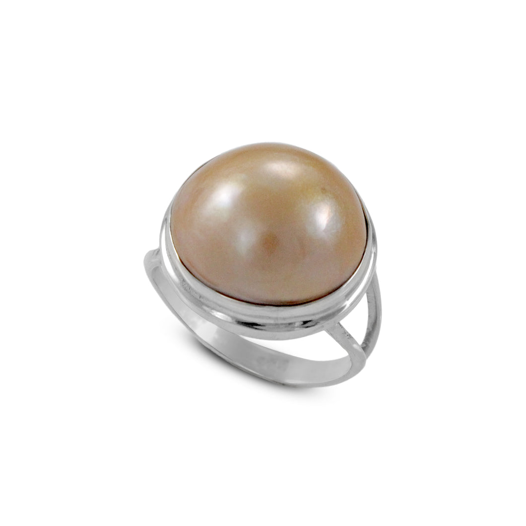 Genuine round gold mabe pearl ring set in 925 sterling silver, 15mm round mabe pearl ring - SUVARNASILVERCO.,LTD