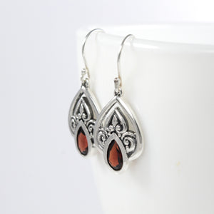 Filigree teardrop earrings with genuine red garnet set in 925 sterling silver, beautiful dangle earrings for women - SUVARNASILVERCO.,LTD
