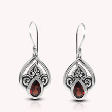Load image into Gallery viewer, Filigree teardrop earrings with genuine red garnet set in 925 sterling silver, beautiful dangle earrings for women - SUVARNASILVERCO.,LTD