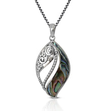 Load image into Gallery viewer, Leaf on Ocean Design 925 Sterling Silver Pendant with Mother Pearl of Shell - SUVARNASILVERCO.,LTD