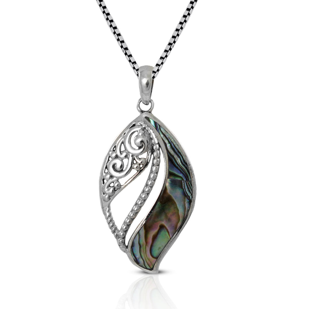 Leaf on Ocean Design 925 Sterling Silver Pendant with Mother Pearl of Shell - SUVARNASILVERCO.,LTD