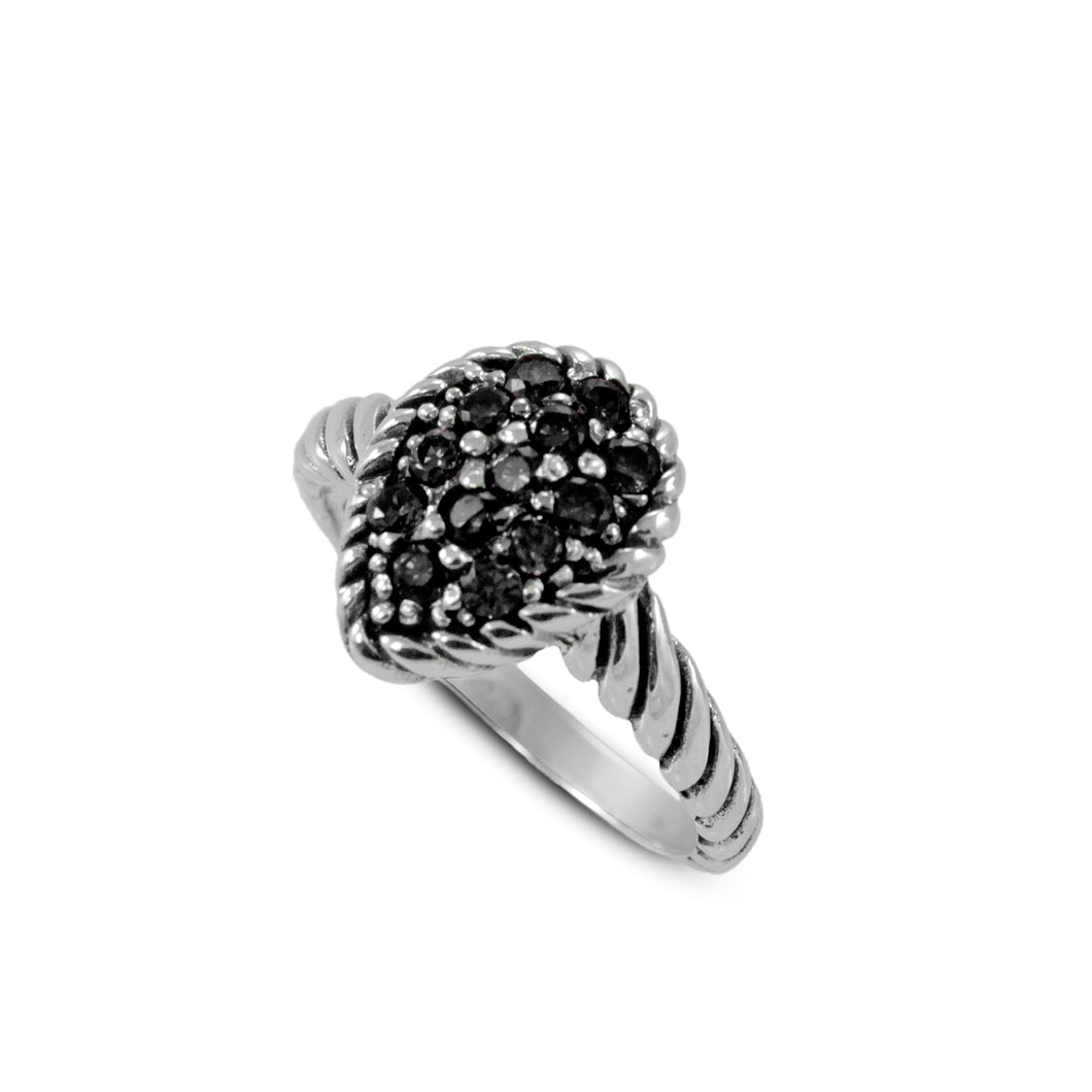 Cable design with black cubic zirconia ring set in 925 sterling silver - SUVARNASILVERCO.,LTD